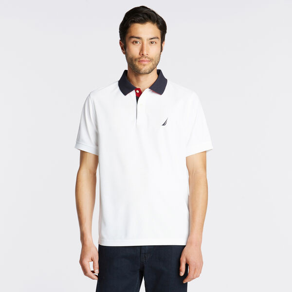 CLASSIC FIT NAVTECH INTERLOCK POLO - Bright White