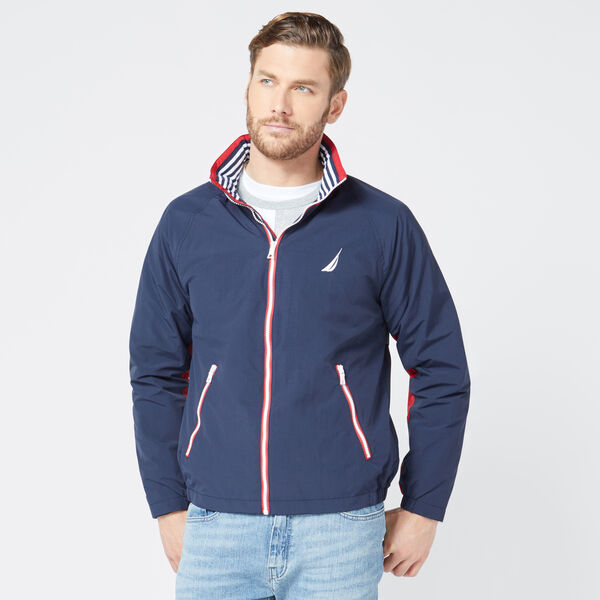 83 BOMBER JACKET WITH CONCEALED HOOD - Navy