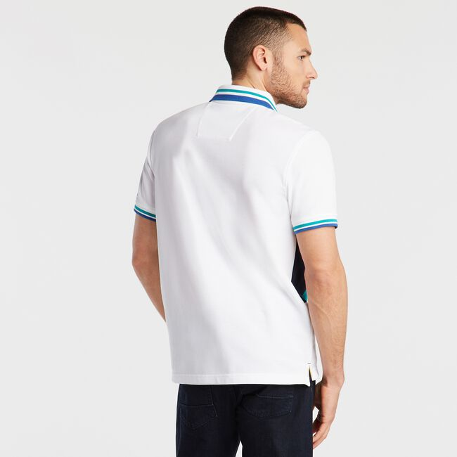 CLASSIC FIT PIECED PIQUÉ POLO,Bright White,large