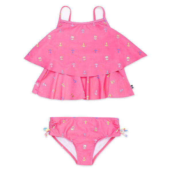 Girls' Tankini in Anchor Print - Light Pink