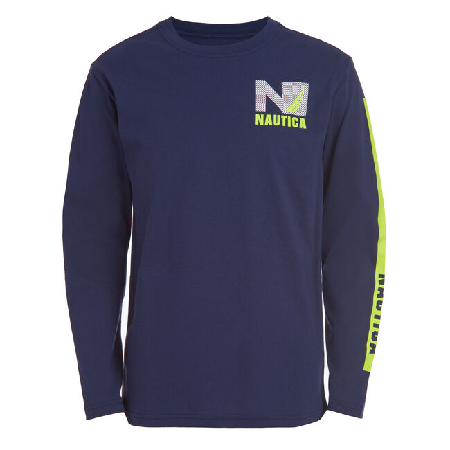 "BOYS' MESH ""N"" GRAPHIC LONG SLEEVE T-SHIRT (8-20),Oyster Bay Blue,large"