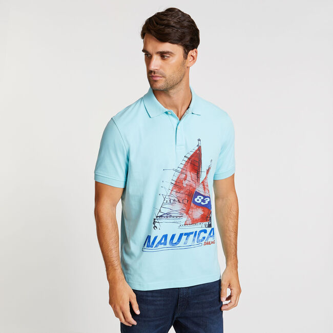 Artist Series Painted Sailboat Polo in Classic Fit,Harbor Mist,large