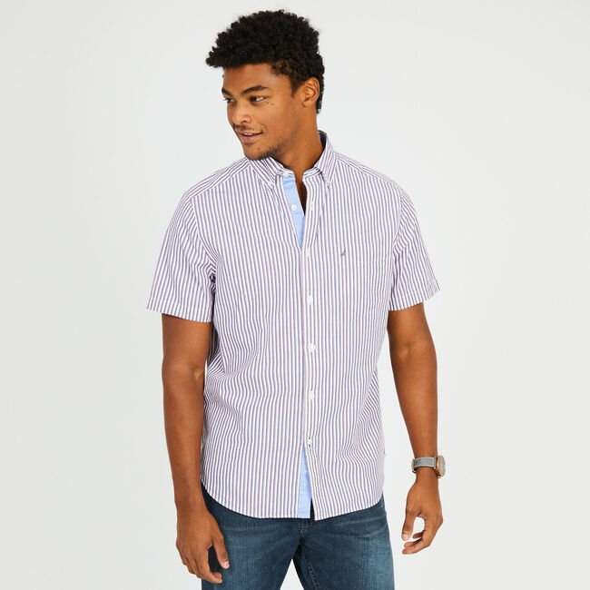 Short Sleeve Classic Fit Striped Button Down,Nautica Red,large