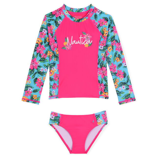 Girls' Rashguard Two-Piece Swimsuit in Floral Print (8-20),Rose,large