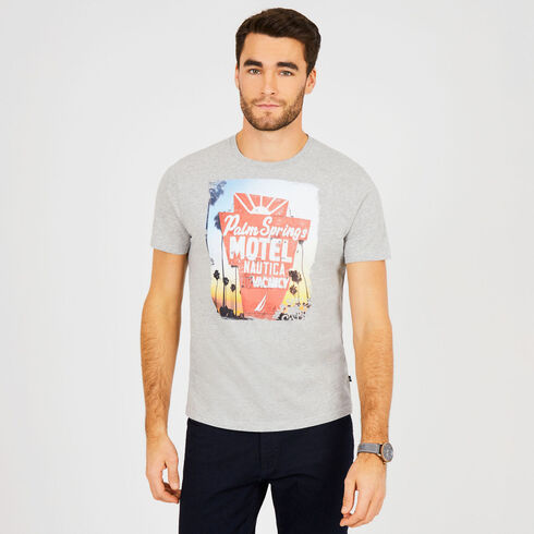Short Sleeve Palm Springs Motel Crewneck T-Shirt - Grey Heather