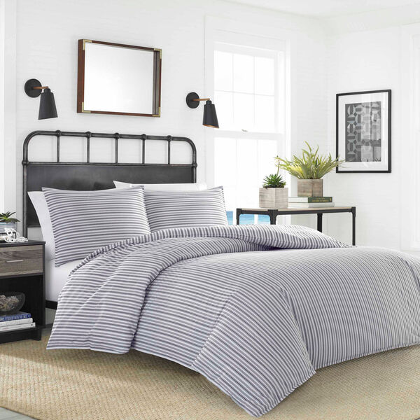 Coleridge Stripe Twin Duvet Mini Set - Navy Dusk