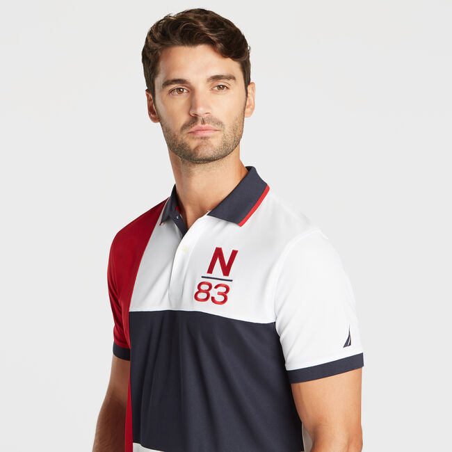 CLASSIC FIT NAVTECH PIECED N-83 PERFORMANCE POLO,Navy,large