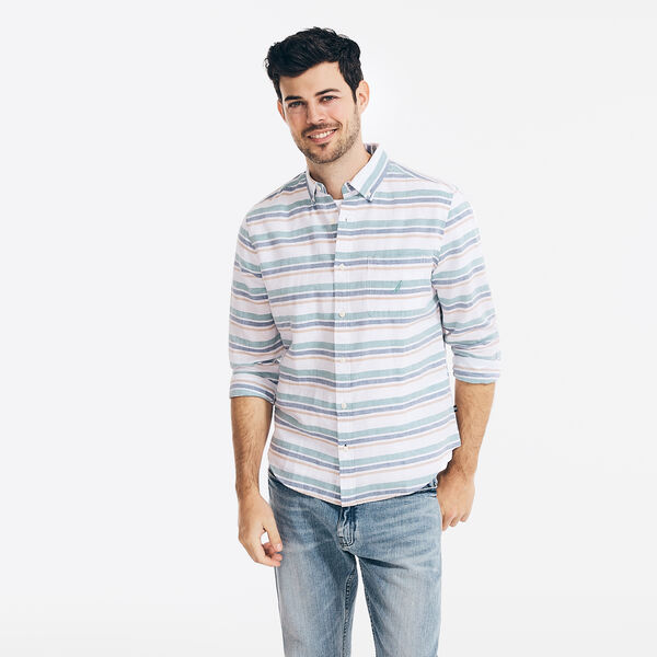 STRIPED LINEN SHIRT - Bright White