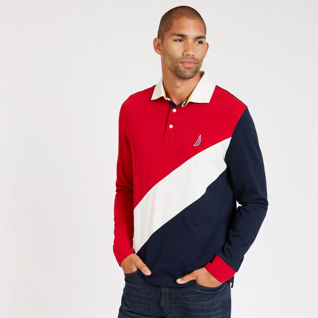 Long Sleeve Classic Fit Souvenir Polo,Nautica Red,large