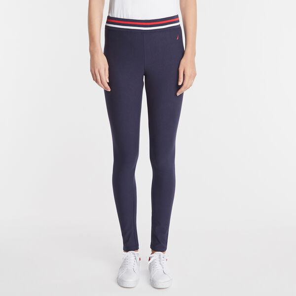 CONTRAST BAND FLEECE LINED LEGGING - Deep Sea