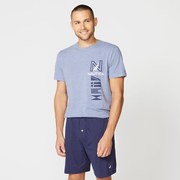 FLAG PRINT SLEEP T-SHIRT - Anchor Blue Heather