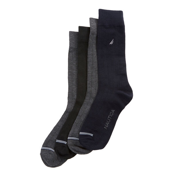 SOLID RIBBED DRESS SOCKS, 5-PACK - Charcoal