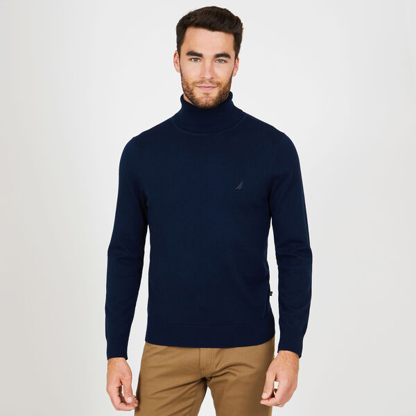 Big & Tall Solid Jersey Turtleneck - Navy
