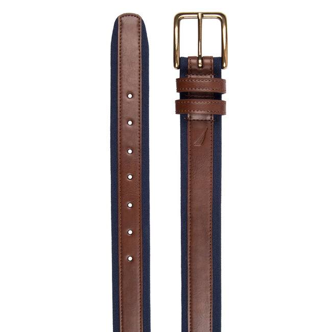 Canvas Belt With Leather Overlay,Brown Stone,large