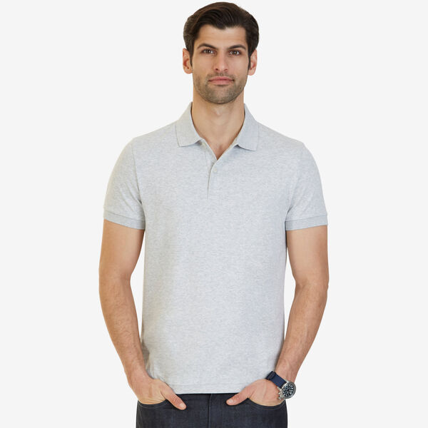 Slim Fit Solid Interlock Cotton Polo - Ice Grey Heather