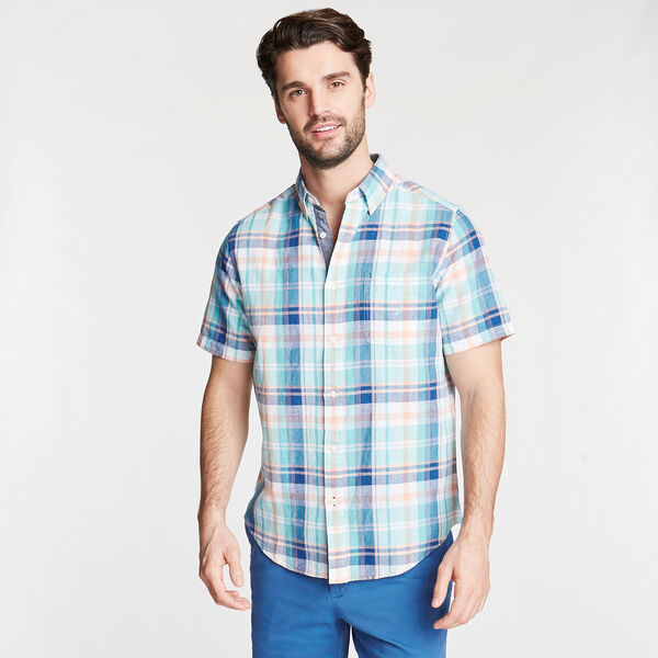 Short Sleeve Classic Fit Shirt in Plaid - Poolside Aqua