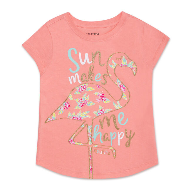 Little Girls' Sun Makes Me Happy Tee (4-6X),Firey Red,large