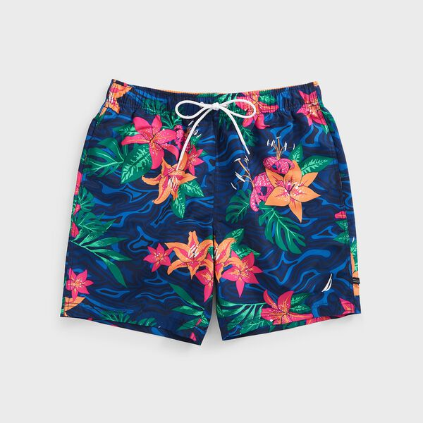 "8.5"" BIG & TALL FLORAL CAMOUFLAGE PRINT SWIM SHORT - Estate Blue"