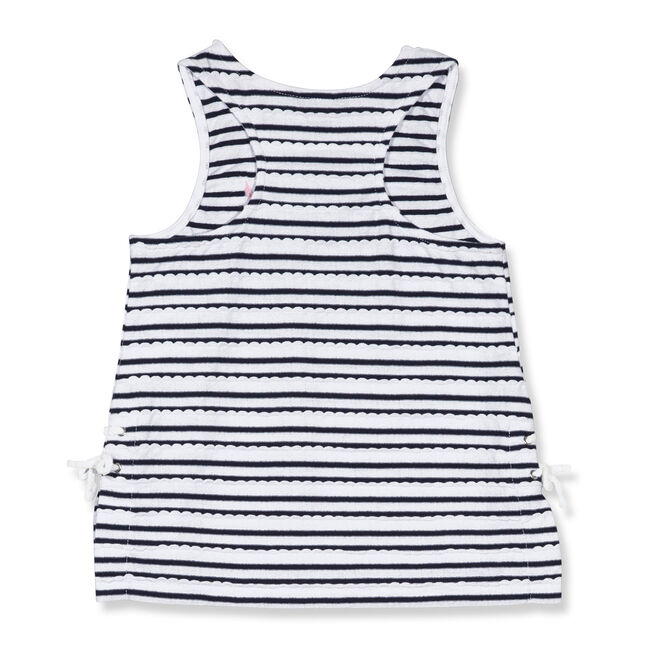 Toddler Girls' Scallop Lace Up Tank (2T-4T),Navy,large