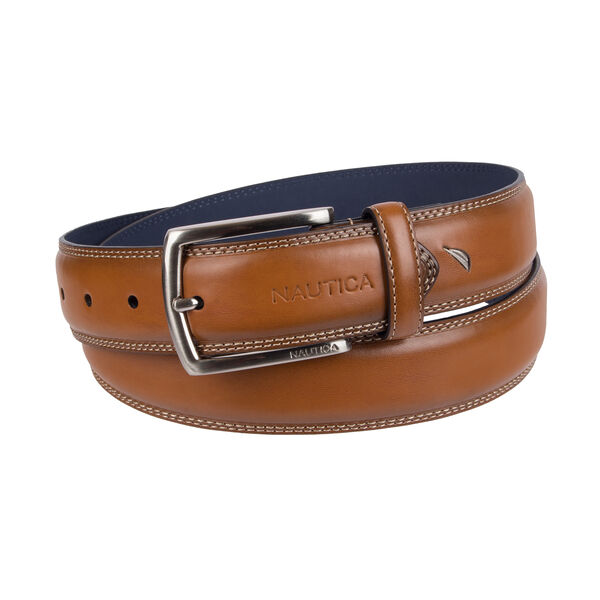 Triple Stitch Belt With Cut Round Edge - Khaki