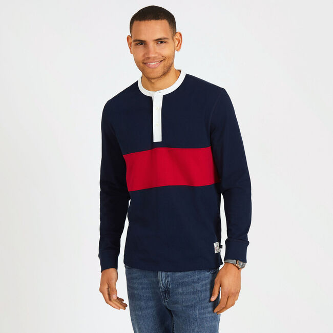 Long Sleeve Colorblock Henley,Pure Dark Pacific Wash,large