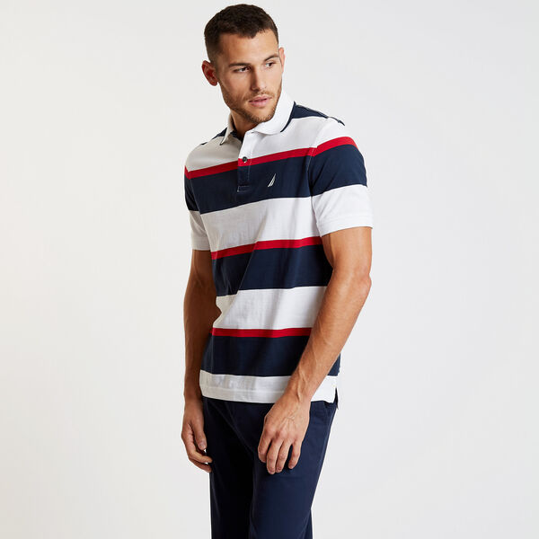 Striped Classic Fit Short Sleeve Polo - Bright White