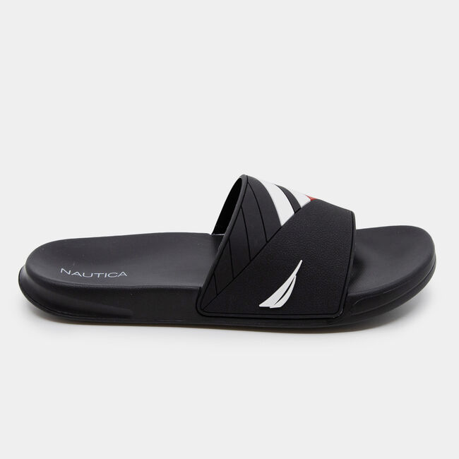 COLORBLOCK LOGO EMBOSSED STRIPE SLIDE SANDALS,True Black,large