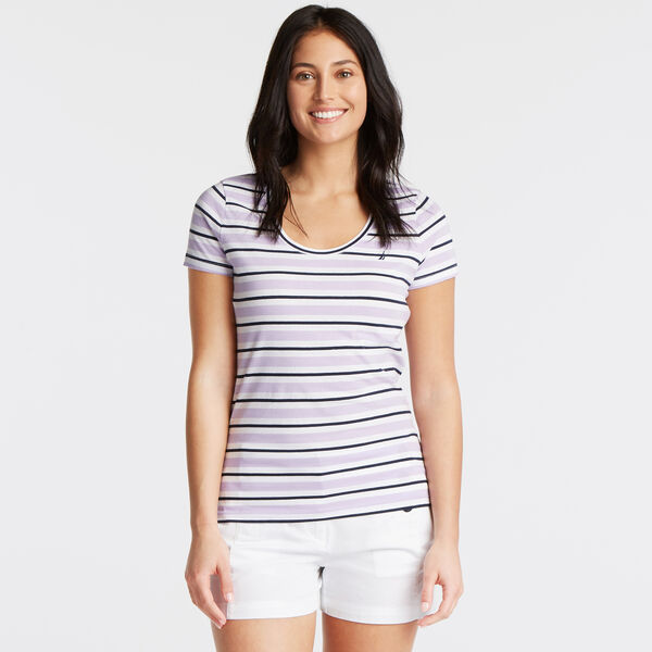 Tri-Color Stripe Scoop-Neck Tee - Camilla Rose