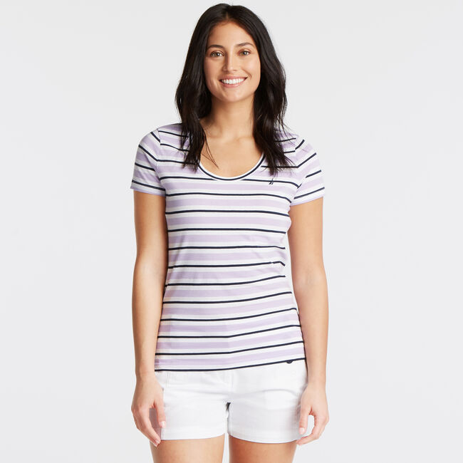 Tri-Color Stripe Scoop-Neck Tee,Camilla Rose,large
