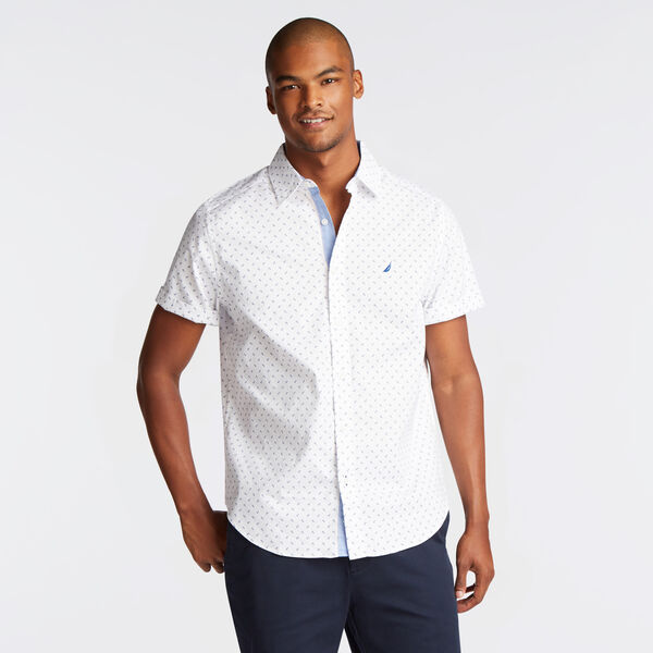 CLASSIC FIT SHORT SLEEVE OXFORD SHIRT IN DIZZY ANCHOR PRINT - Bright White