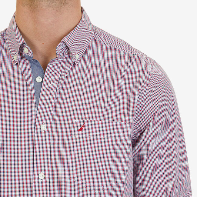 Micro Plaid Classic Fit Button-Down Shirt,Nautica Red,large
