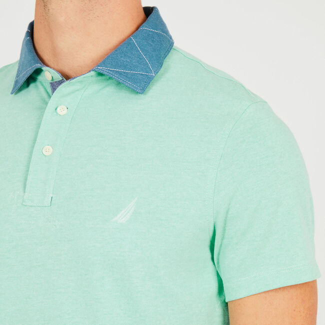 Contrast Collar Short Sleeve Slim Fit Polo,Vibe Green,large