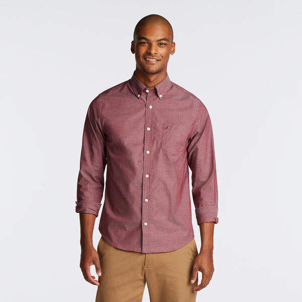 SLIM FIT WRINKLE RESISTANT SHIRT IN SOLID - Zinfandel