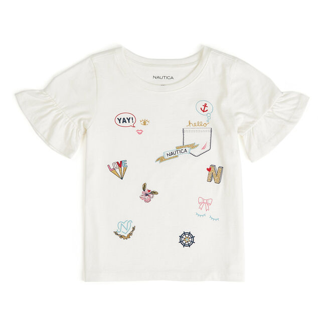 Little Girls' Emoji Patchwork T-Shirt (4-6X),Bright White,large