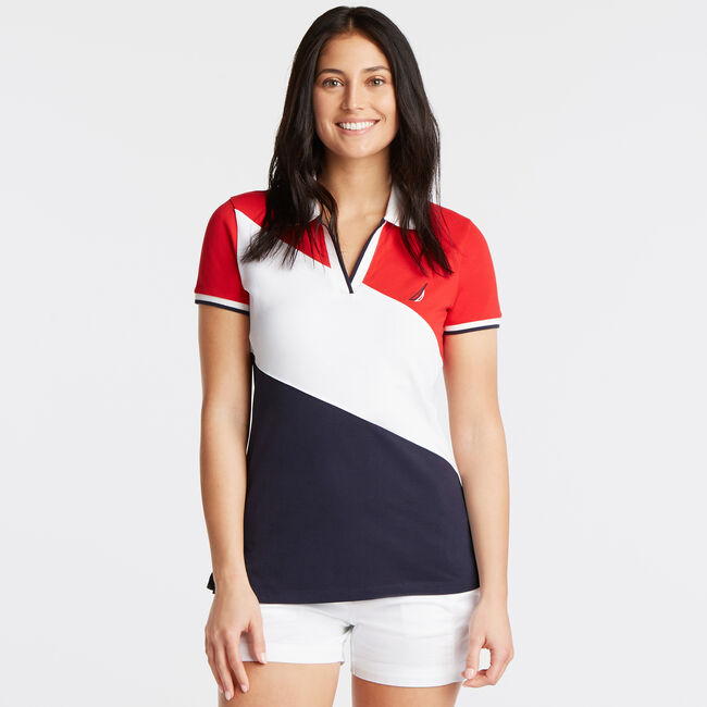 Diagonal Colorblock Pique Polo,Tomales Red,large