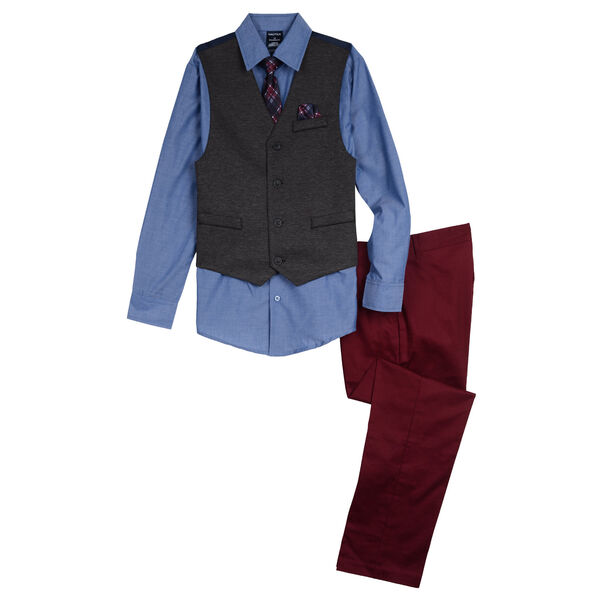 Little Boys' Stretch Chambray Vest Set (4-7) - Blue Moon