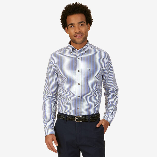 Big & Tall Striped Classic Fit Button Down,French Blue,large