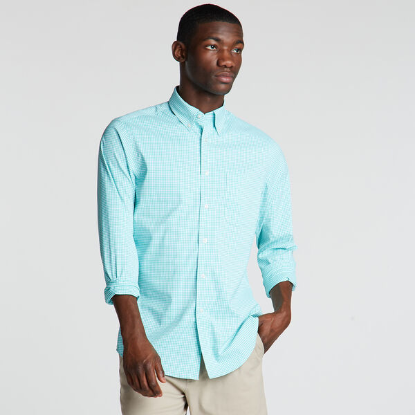 Classic Fit Non-Iron Performance Poplin Shirt in Micro Gingham - Gulf Coast Blue