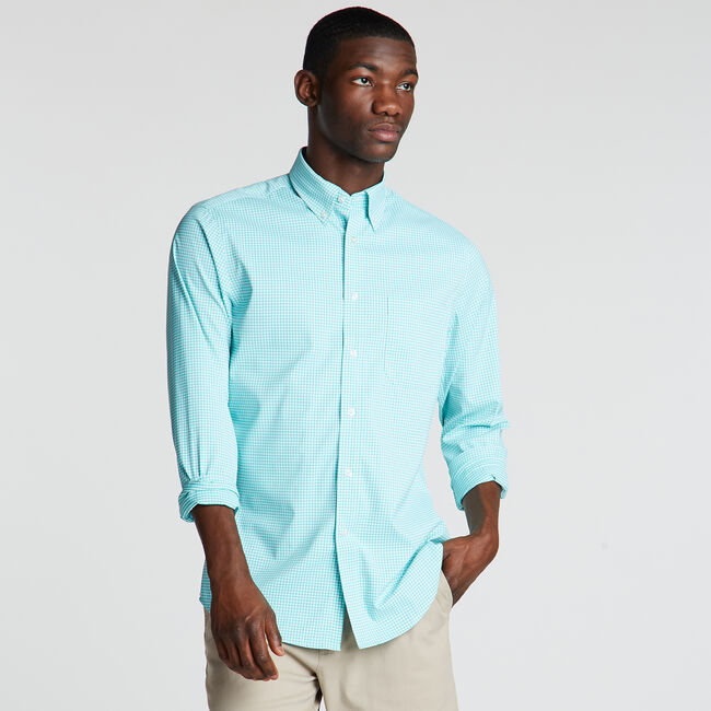 Classic Fit Non-Iron Performance Poplin Shirt in Micro Gingham,Anchor Blue Heather,large