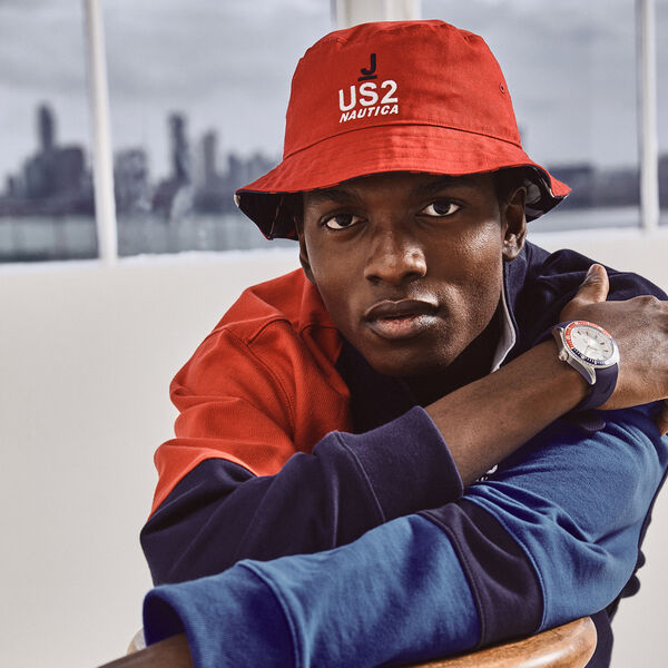 NAUTICA X URBAN NECESSITIES REVERSIBLE BUCKET HAT - Nautica Red