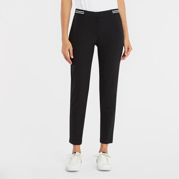 STRIPE WAIST ANKLE PANT - True Black