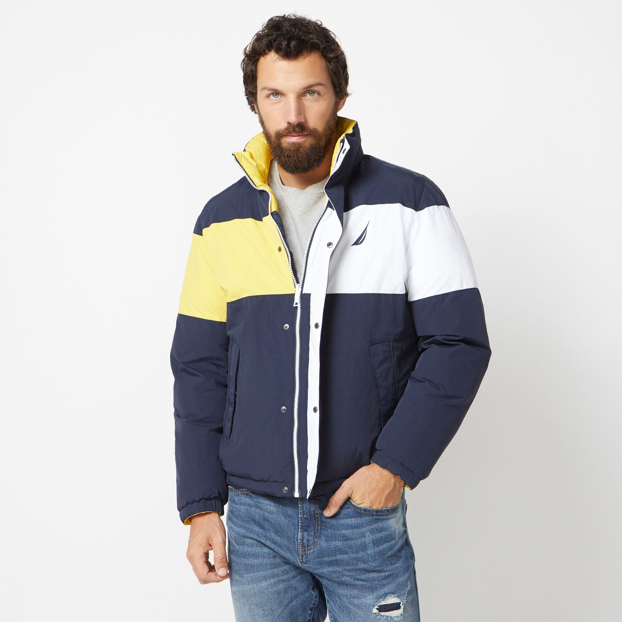 Nautica Reversible Colorblock Jacket With Tempasphere