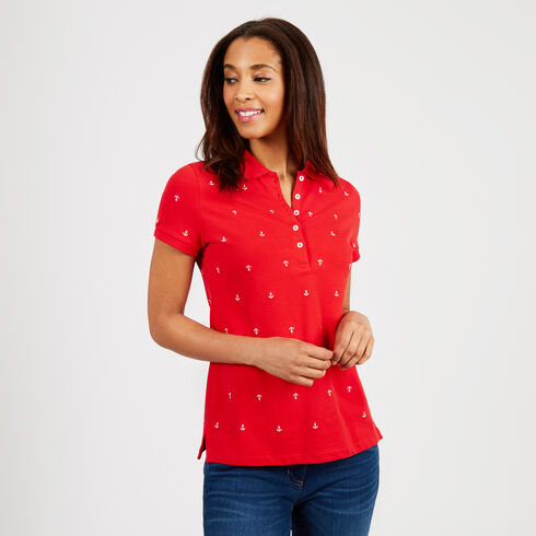 Anchor Motif Classic Fit Short Sleeve Polo - Tomales Red