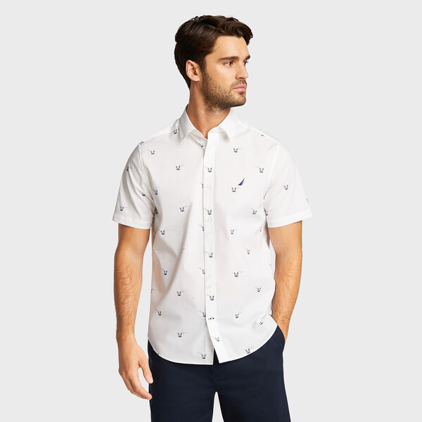 Wrinkle-Resistant Short Sleeve Classic Fit Shirt - Bright White