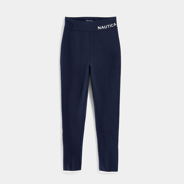 LOGO SIDE ZIP LEGGINGS - Stellar Blue Heather