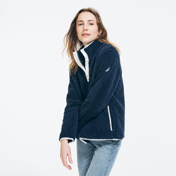 QUARTER-ZIP SHERPA PULLOVER - Stellar Blue Heather