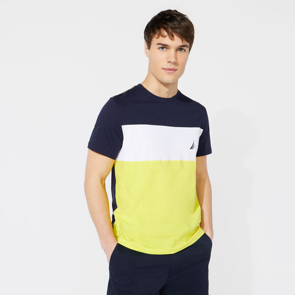 3 COLORBLOCKED CREWECK TEE - Pure Dark Pacific Wash