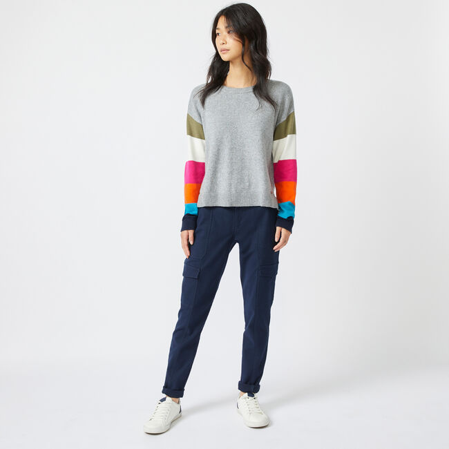 COLORBLOCK-SLEEVE KNIT SWEATER,Quarry Heather,large