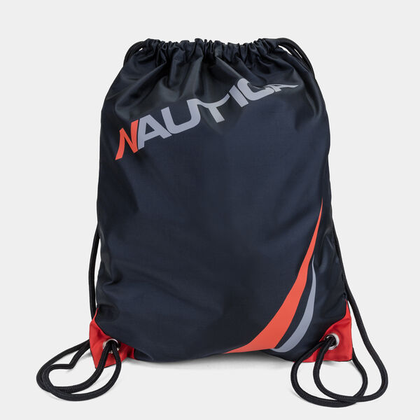 LOGO GRAPHIC CINCH SACK DRAWSTRING BACKPACK - Black