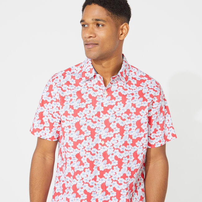 CLASSIC FIT FLORAL PRINT POPLIN SHIRT,Persian Red,large